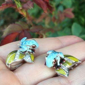 925 enamel vintage frog lily pad crystal earrings